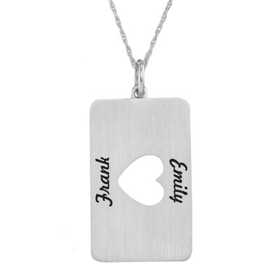 Personalized 10K White Gold Rectangular Heart Cutout Pendant Necklace