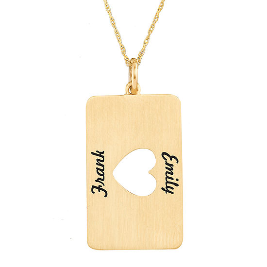 Personalized 14K Yellow Gold Rectangular Heart Cutout Pendant Necklace