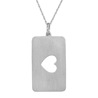 Personalized 14K White Gold Rectangular Heart Cutout Pendant Necklace
