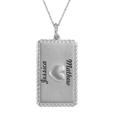 Personalized Sterling Silver Rectangular Puffed Heart Pendant Necklace