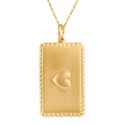 Personalized 10K Yellow Gold Rectangular Puffed Heart Pendant Necklace