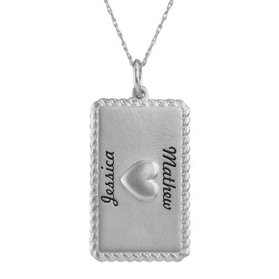 Personalized 10K White Gold Rectangular Puffed Heart Pendant Necklace