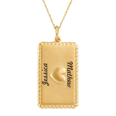Personalized 14K Yellow Gold Rectangular Puffed Heart Pendant Necklace