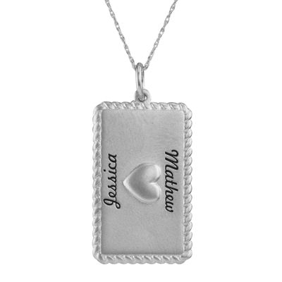 Personalized 14K White Gold Rectangular Puffed Heart Pendant Necklace