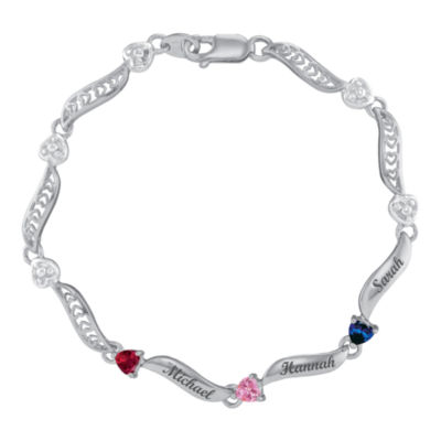 Personalized Sterling Silver Family Birthstone Heart Bracelet