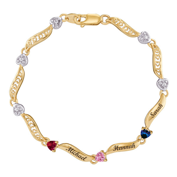 Personalized 10K Yellow Gold Family Birthstone Heart Bracelet