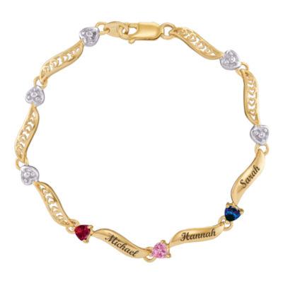 Personalized 14K Yellow Gold Family Birthstone Heart Bracelet