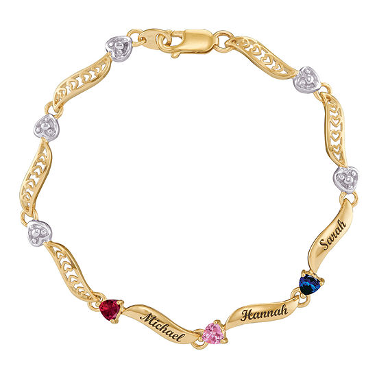 Personalized 14K Yellow Gold Family Birthstone Heart Bracelet