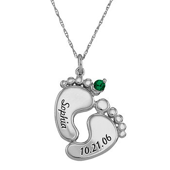 Personalized Sterling Silver Rhodium Plated Baby Feet Pendant