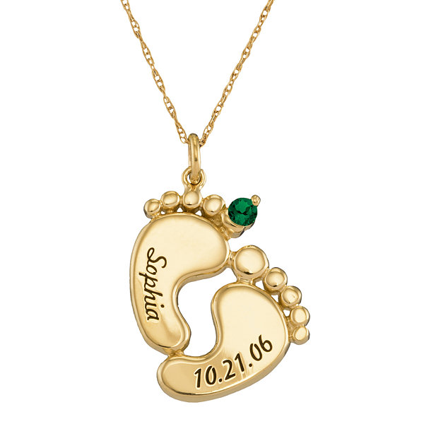 Personalized 14K Gold Name, Date and Birthstone Footprints Pendant Necklace