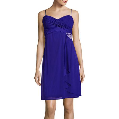 Blu Sage Sleeveless Rhinestone-Trim Empire Dress