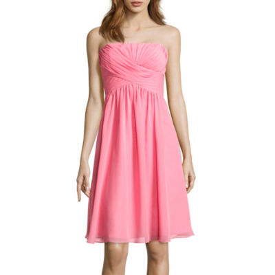 Blu Sage Strapless Chiffon Bridesmaid Dress