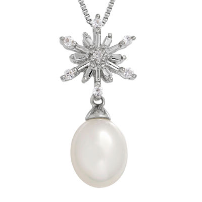 Cultured Freshwater Pearl and Lab-Created White Sapphire Snowflake Necklace