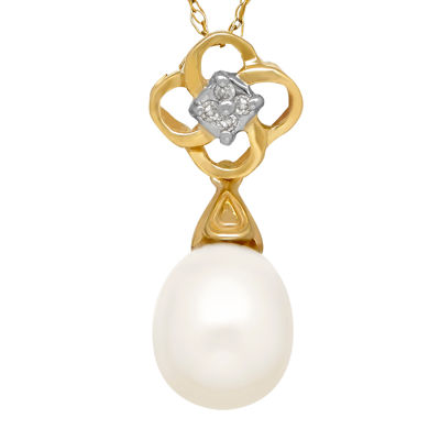 Cultured Freshwater Pearl and Diamond-Accent Drop Pendant Necklace