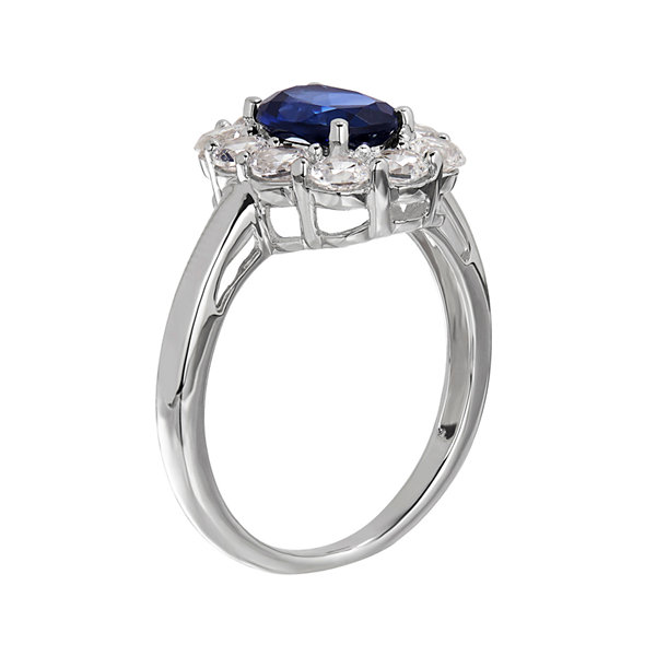 Lab-Created Blue and White Sapphire Sterling Silver Ring