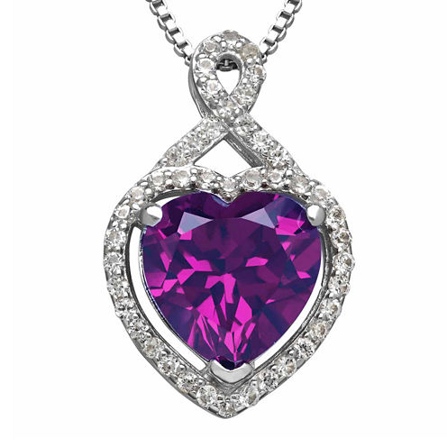 Lab-Created Purple and White Sapphire Heart Pendant Necklace
