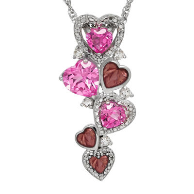 Lab-Created Pink Sapphire and White Topaz Trailing Heart Pendant Necklace