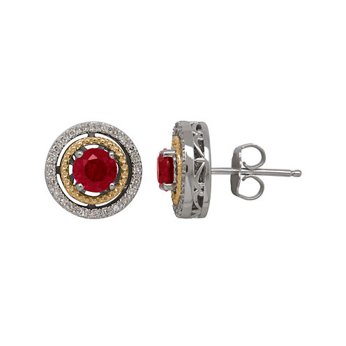 Lab-Created Ruby and 1/7 CT. T.W. Diamond Circle Earrings