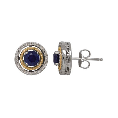 Lab-Created Blue Sapphire and 1/7 CT. T.W. Diamond Circle Earrings