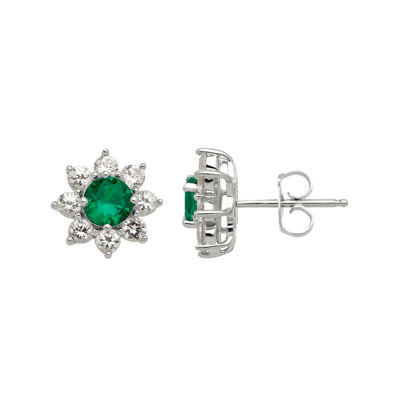 Lab-Created Emerald and White Sapphire Starburst Sterling Silver Earrings