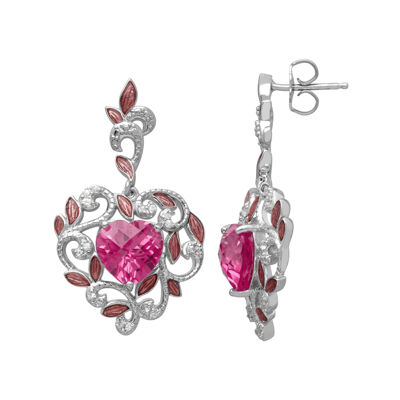 Lab-Created Pink Sapphire and White Topaz Heart Earrings