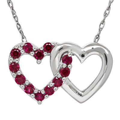 Lab-Created Ruby Double-Heart Pendant Necklace