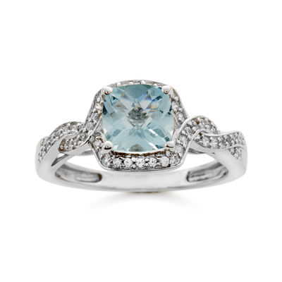 Genuine Aquamarine and Lab-Created White Sapphire Ring