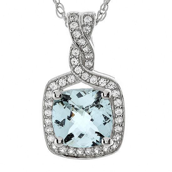 Genuine Aquamarine And Lab Created White Sapphire Pendant Necklace