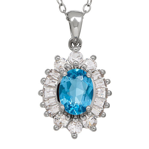 Genuine Blue Topaz and Lab-Created White Sapphire Starburst Pendant Necklace