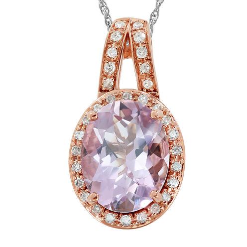 Genuine Pink Morganite and 1/10 C.T. TW. Diamond 14K Rose Gold Pendant