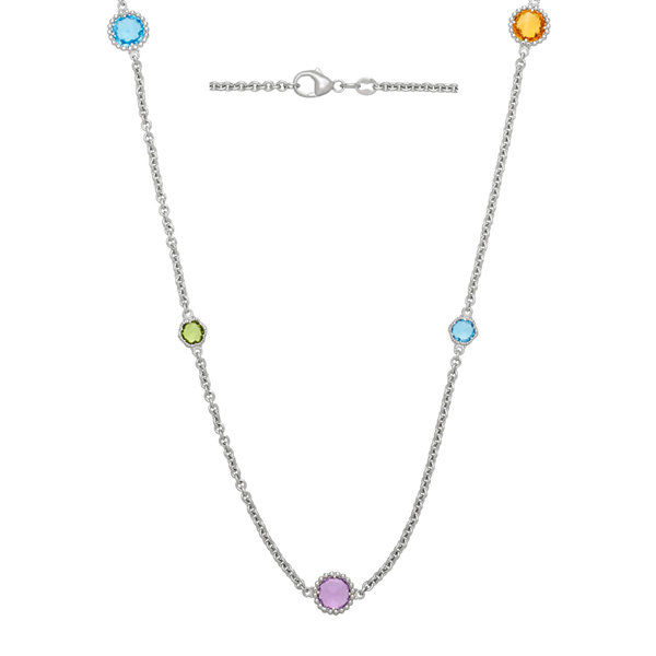 Genuine Multicolor Gemstone Sterling Silver Necklace