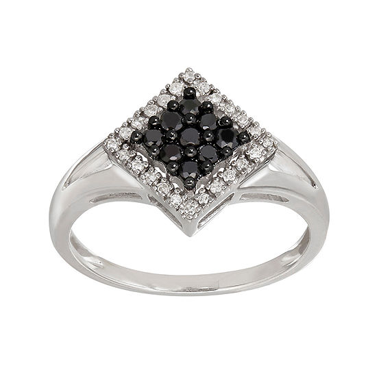1/4 CT. T.W. White and Color-Enhanced Black Diamond Ring