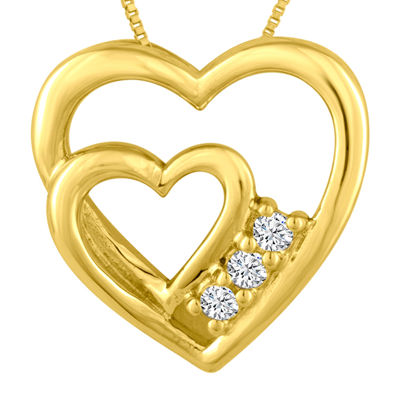 Diamond-Accent 10K Yellow Gold Heart Pendant Necklace