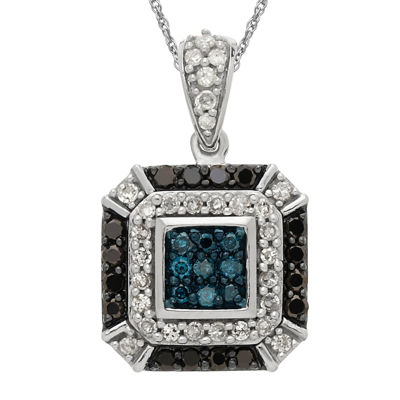 1/2 CT. T.W. White and Color-Enhanced Blue and Black Diamond Pendant Necklace