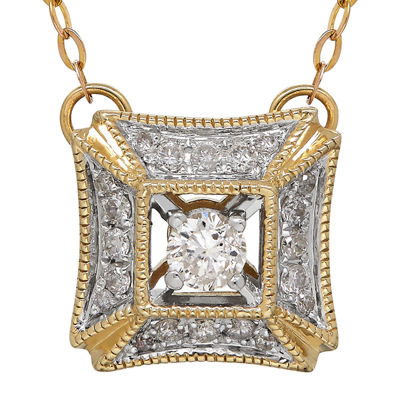 1/4 CT. T.W. Diamond Square Pendant Necklace
