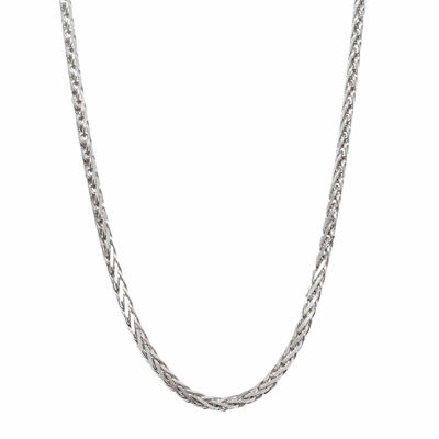 14K White Gold Diamond-Cut Wheat Chain Necklace