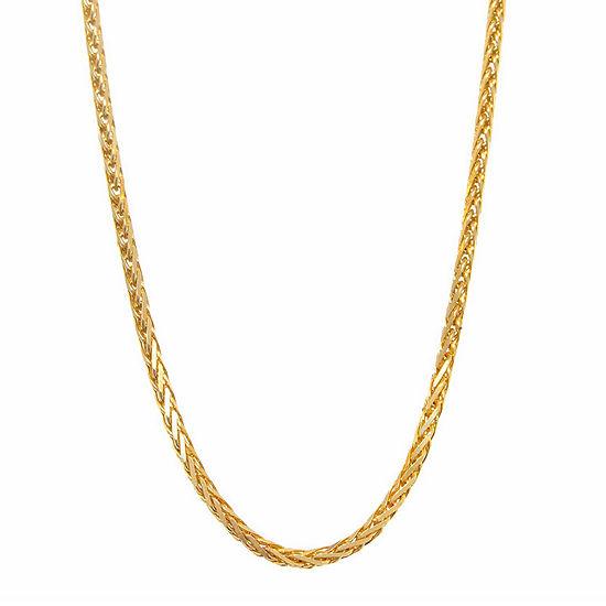 14k Yellow Gold Diamond Cut Wheat Chain 16 Necklace