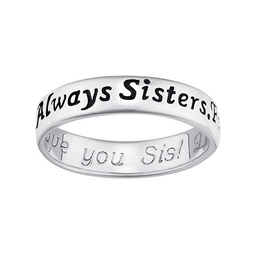 """Personalized Sterling Silver """"Always Sisters, Forever Friends"""" Engraved Ring"""
