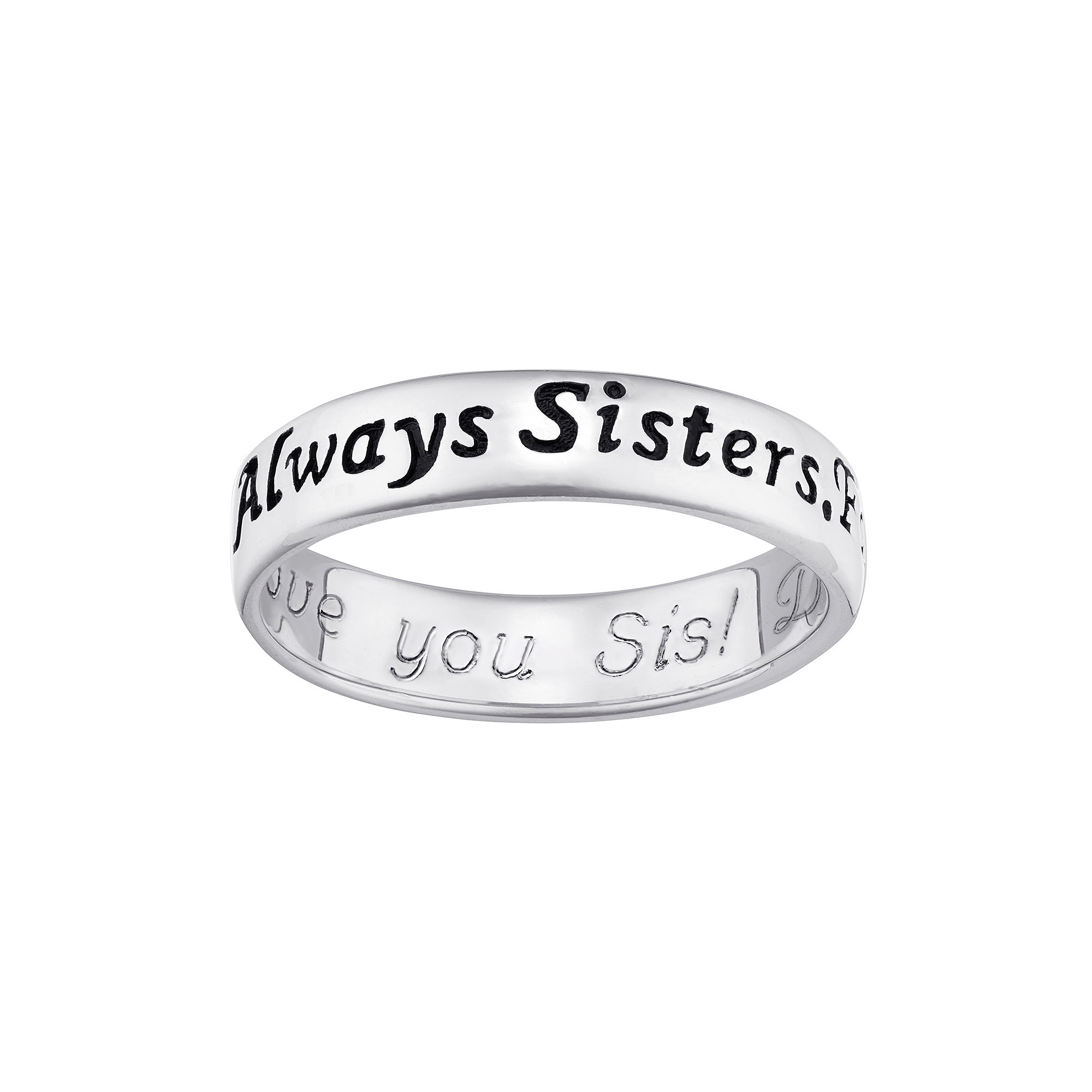 "Personalized Sterling Silver ""Always Sisters, Forever Friends"" Engraved Ring"