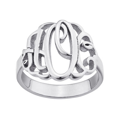 Personalized Script Style Thick Monogram Ring