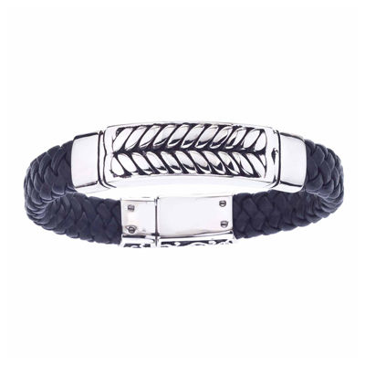 Mens Two-Tone Stainless Steel and Braided Leather Bracelet