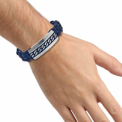 Mens Two-Tone Stainless Steel and Leather Bracelet