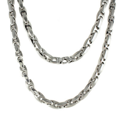 "Mens Stainless Steel Puff Mariner 24"" Necklace"