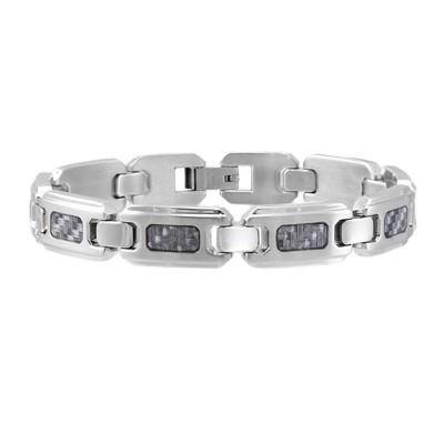 Mens Stainless Steel and Gray Carbon Fiber Bracelet