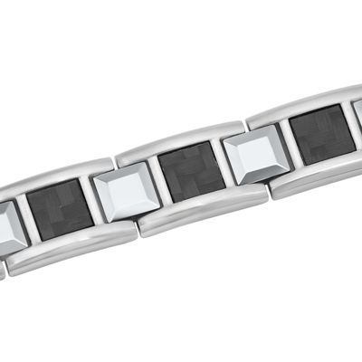 Mens Stainless Steel and Tungsten Bracelet