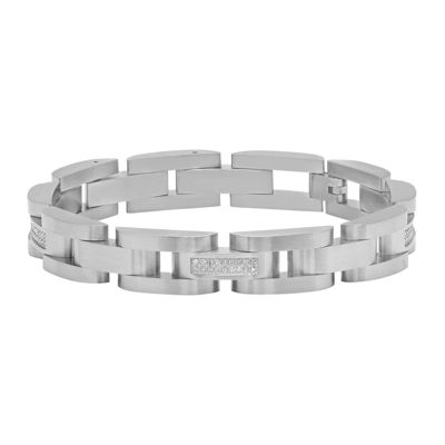 Mens 1/3 CT. T.W. Diamond Stainless Steel Bracelet