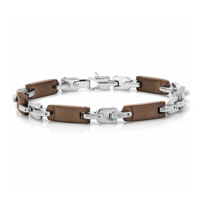 Mens Stainless Steel Brown IP Bracelet
