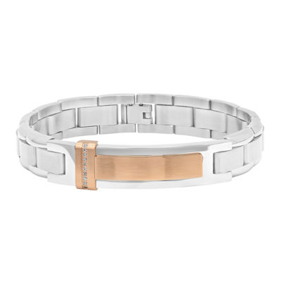 Mens Diamond-Accent Stainless Steel Rose-Tone IP ID Bracelet