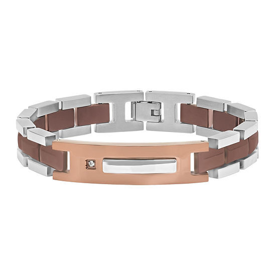 Mens Diamond-Accent Stainless Steel Brown IP ID Bracelet