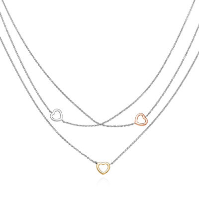 14K Gold Over Silver Sterling Silver 3-Strand Heart Necklace
